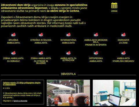 Spletno mesto ZD IDRIJA z izboljšano dostopnostjo za slepe in slabovidne
